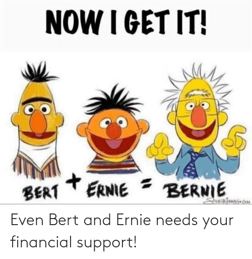 support: Even Bert and Ernie needs your financial support!