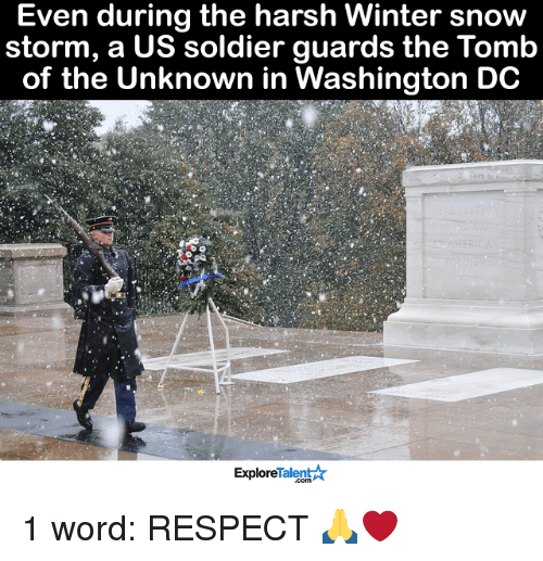 Memes, Soldiers, and Snow: Even during the harsh Winter snow  storm, a US soldier guards the Tomb  of the Unknown in Washington DC  Talent  Explore 1 word: RESPECT 🙏❤