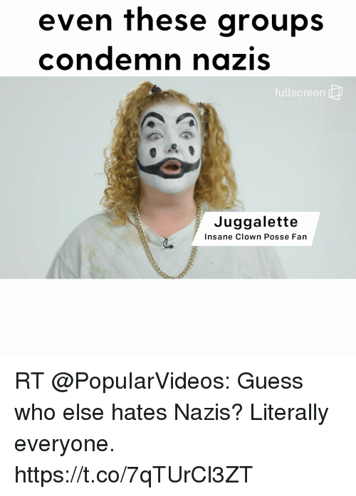 awwmemes.com: even these groups  condemn nazis  fullscreen  Juggalette  Insane Clown Posse Fan RT @PopuIarVideos: Guess who else hates Nazis? Literally everyone. https://t.co/7qTUrCl3ZT