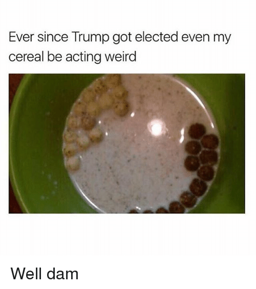Evenement: Ever since Trump got elected even my  cereal be acting weird Well dam