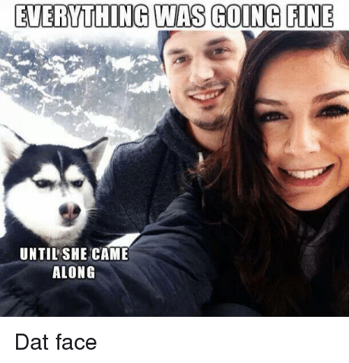 dat face: EVERTHING WAS GOING FINE  UNTIL SHE CAME  ALONG Dat face