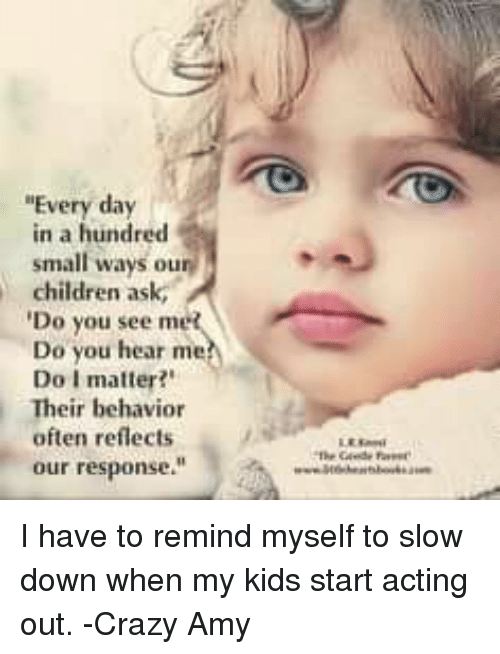 "Crazy Amy: ""Every day  in a hundred  small ways our  children ask,  Do you see met  Do you hear me  Do I matter?""  Their behavior  often reflects  our response."" I have to remind myself to slow down when my kids start acting out.    -Crazy Amy"