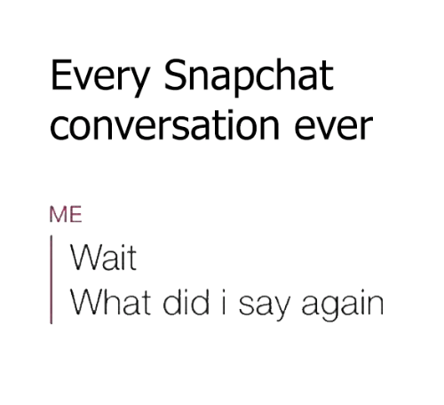 Funny, Snapchat, and Converse: Every Snapchat  conversation ever  ME  Wait  What did i say again