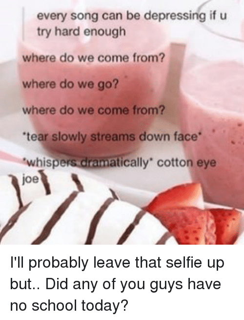 """Tumblr, Joe, and Cotton: every song can be depressing if u  try hard enough  where do we come from?  where do we go?  where do we come from?  'tear slowly streams down face  cally"""" cotton eye  whisp  joe I'll probably leave that selfie up but.. Did any of you guys have no school today?"""