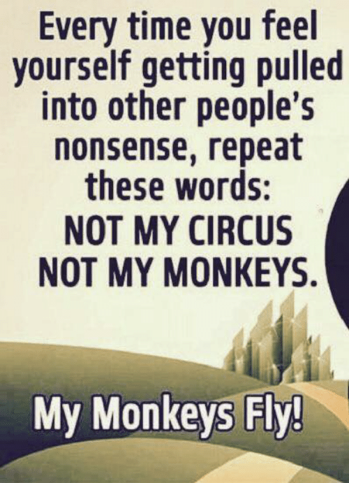 Circus: Every time you feel  yourself getting pulled  into other people's  nonsense, repeat  these words:  NOT MY CIRCUS  NOT MY MΟNΚΕYS.  My Monkeys Fly!