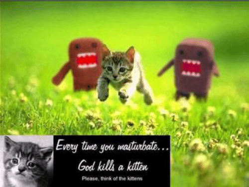 God, Kitten, and Think: Every tine you masturbat...  God kills a kitten  Please, think of the kitens