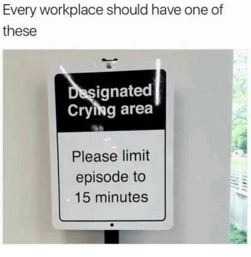 Crying, Humans of Tumblr, and One: Every workplace should have one of  these  ignated  Crying area  Please limit  episode to  15 minutes