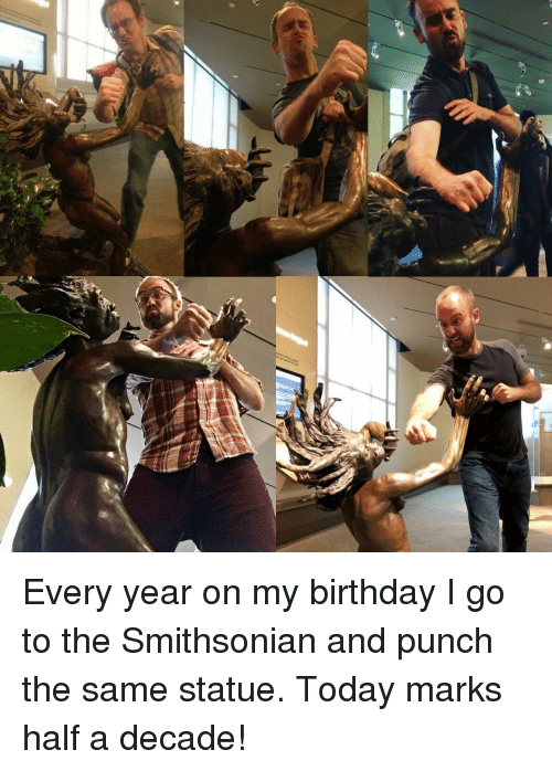 Birthday, Smithsonian, and Today: Every year on my birthday I go to the Smithsonian and punch the same statue. Today marks half a decade!