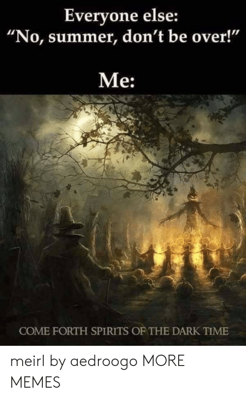 """spirits: Everyone else:  """"No, summer, don't be over!""""  Me:  COME FORTH SPIRITS OF THE DARK TIME meirl by aedroogo MORE MEMES"""