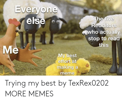 Making A Meme: Everyone  else  The five  Redditors  who actually  stop to read  this  Me  My best  effort at  making a  meme Trying my best by TexRex0202 MORE MEMES