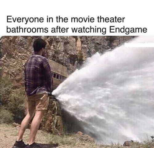 Movie Theater: Everyone in the movie theater  bathrooms after watching Endgame