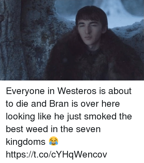 Weed, Best, and Seven Kingdoms: Everyone in Westeros is about to die and Bran is over here looking like he just smoked the best weed in the seven kingdoms 😂 https://t.co/cYHqWencov