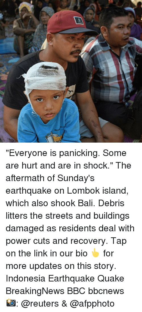 """Indonesia: """"Everyone is panicking. Some are hurt and are in shock."""" The aftermath of Sunday's earthquake on Lombok island, which also shook Bali. Debris litters the streets and buildings damaged as residents deal with power cuts and recovery. Tap on the link in our bio 👆 for more updates on this story. Indonesia Earthquake Quake BreakingNews BBC bbcnews 📸: @reuters & @afpphoto"""