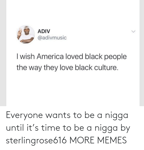 nigga: Everyone wants to be a nigga until it's time to be a nigga by sterlingrose616 MORE MEMES
