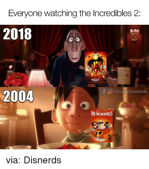Funny, The Incredibles, and Incredibles 2: Everyone watching the Incredibles 2:  2018  TI  O/ProudDisnerds  2004  THE INCREDIBLES via: Disnerds