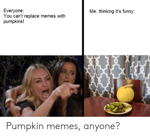 Pumpkin: Everyone:  You can't replace memes with  pumpkins!  Me, thinking it's funny: Pumpkin memes, anyone?
