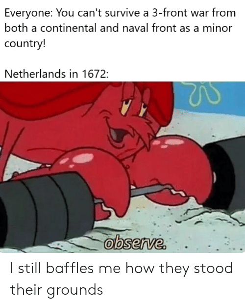 Netherlands, How, and War: Everyone: You can't survive a 3-front war from  both a continental and naval front as a minor  country!  Netherlands in 1672:  observe. I still baffles me how they stood their grounds