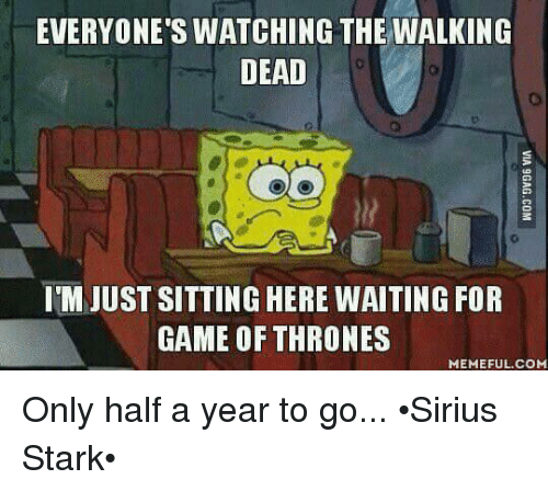 Sitting Here Waiting: EVERYONE'S WATCHING THE WALKING  DEAD  IM JUST SITTING HERE WAITING FOR  GAME OF THRONES  MEMEFUL COM Only half a year to go... •Sirius Stark•