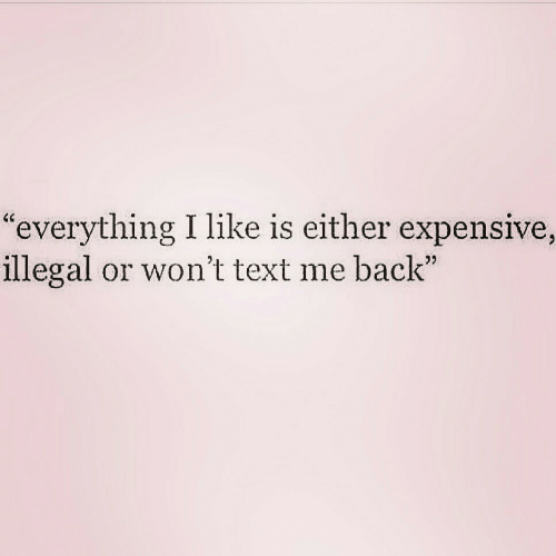 """Text Me Back: """"everything I like is either expensive,  illegal or won't text me back"""""""