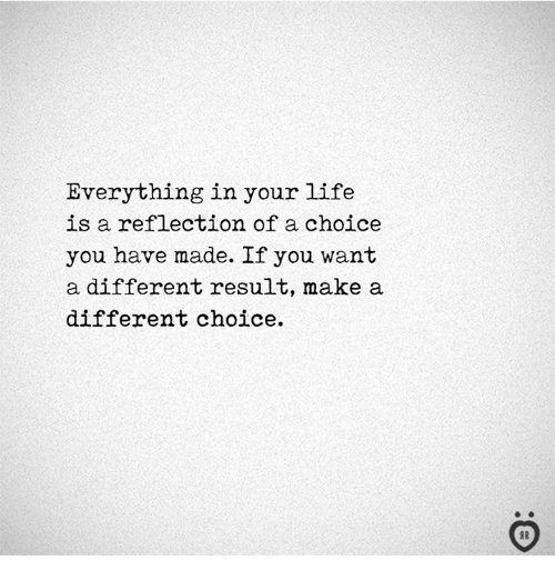Your Life Is A: Everything in your life  is a reflection of a choice  you have made. If you want  a different result, make a  different choice.