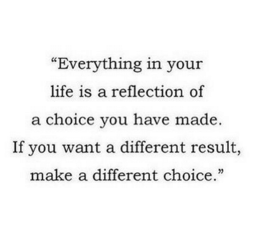 """Your Life Is A: """"Everything in your  life is a reflection of  a choice you have made.  If you want a different result,  make a different choice."""""""