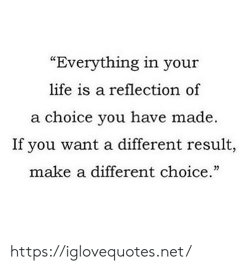"Life, Net, and Make A: ""Everything in your  life is a reflection of  a choice you have made.  If you want a different result,  make a different choice."" https://iglovequotes.net/"