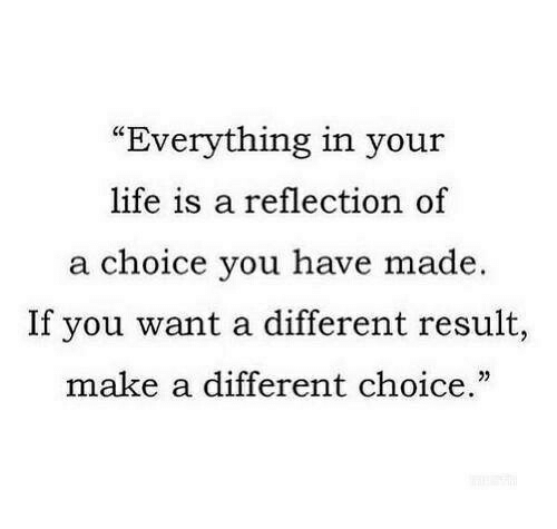 """Your Life Is A: """"Everything in your  life is a reflection of  a choice you have made.  If you want a different result,  make a different choice."""