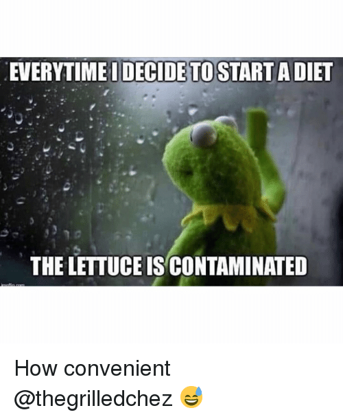 Funny, Diet, and How: EVERYTIME I DECIDE TO START A DIET  THE LETTUCE IS CONTAMINATED How convenient @thegrilledchez 😅