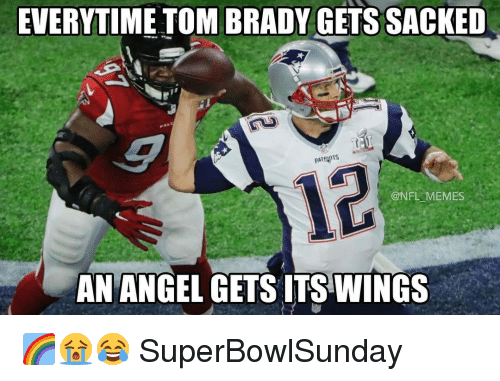 Nba, Patent, and Patents: EVERYTIME TOM BRADY GETS SACKED  PATENTS  @NFL MEMES  AN ANGEL GETS ITSWINGS 🌈😭😂 SuperBowlSunday