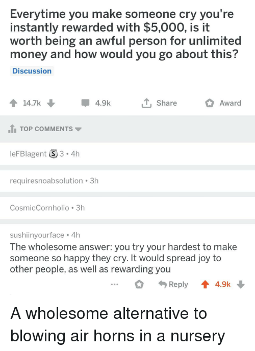 Money, Happy, and Wholesome: Everytime you make someone cry you're  instantly rewarded with $5,000, is it  worth being an awful person for unlimited  money and how would you go about this?  Discussion  14.7k  4.9k  T Share  Award  1 TOP COMMENTS  leFBlagent 3.4h  requiresnoabsolution 3h  CosmicCornholio 3h  sushiinyourface 4h  The wholesome answer. you try your hardest to make  someone so happy they cry. It would spread joy to  other people, as well as rewarding you  Reply4.9k A wholesome alternative to blowing air horns in a nursery