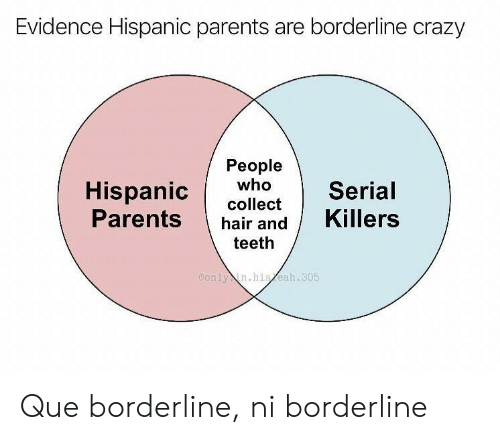 crazy people: Evidence Hispanic parents are borderline crazy  People  who  Hispanic  Parents  Serial  collect  Killers  hair and  teeth  Conly in.hiaeah.305 Que borderline, ni borderline