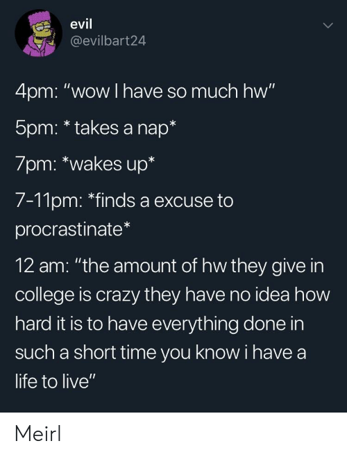 "College, Crazy, and Life: evil  @evilbart24  4pm: ""wow I have so much hw""  5pm: * takes a nap*  7pm: *wakes up*  7-11pm: ""finds a excuse to  procrastinate  12 am: ""the amount of hw they give in  college is crazy they have no idea how  hard it is to have everything done in  such a short time you know i have a  life to live"" Meirl"
