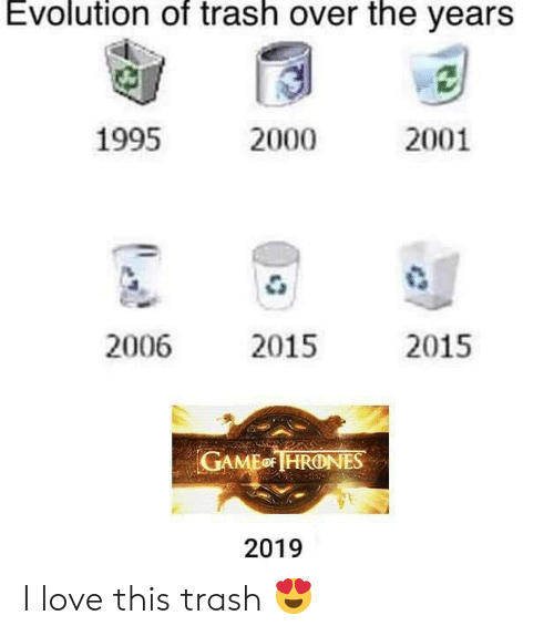 Love, Memes, and Trash: Evolution of trash over the yearS  1995  2001  2000  2006 2015  2015  GAMEo HRONES  2019 I love this trash 😍
