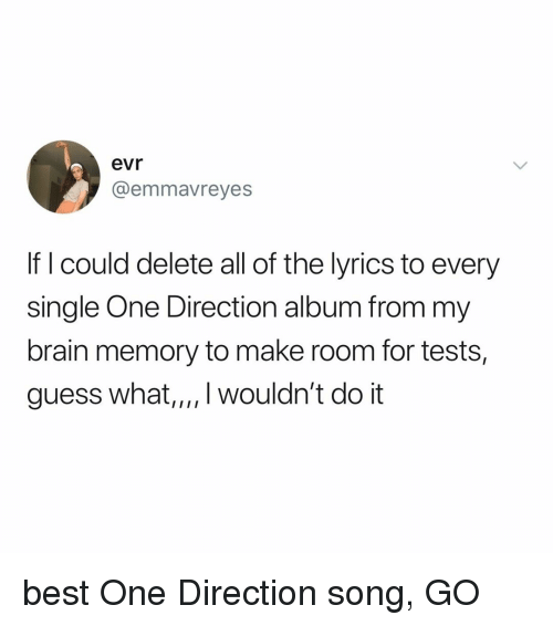 One Direction: evr  @emmavreyes  If I could delete all of the lyrics to every  single One Direction album from my  brain memory to make room for tests,  guess what,,,. wouldn't do it best One Direction song, GO