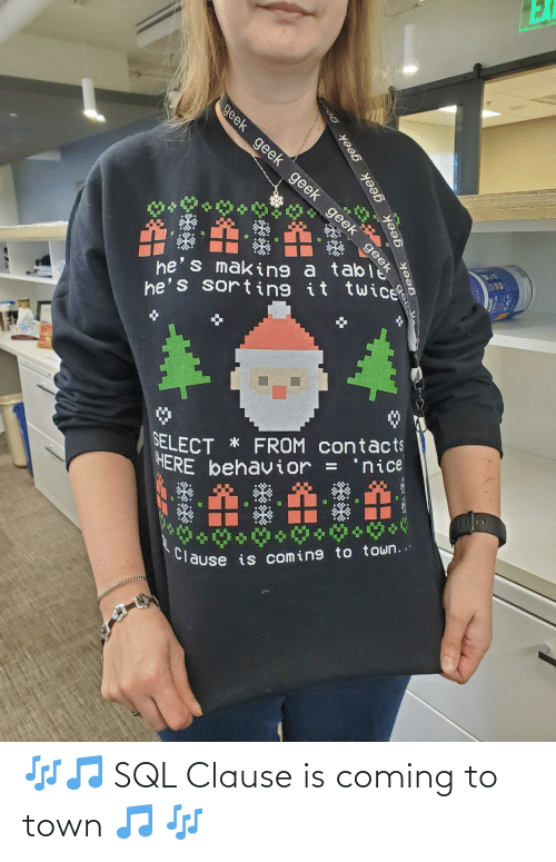 town: EX  geek geek geek geek geek  he's making a ta eek  he's sorting it twice  SELECT * FROM contacts  HERE behavior =  'nice  %3D  Clause is coming to town..  geek  geek geek geek ge 🎶🎵 SQL Clause is coming to town 🎵 🎶