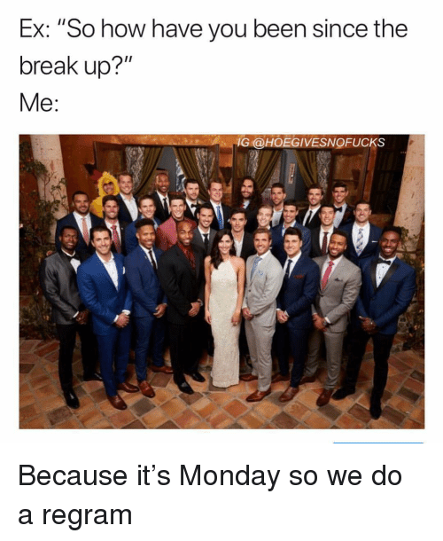 "Break, Monday, and Girl Memes: Ex: ""So how have you been since the  break up?""  İG@HOEGIVESNOFUCKS Because it's Monday so we do a regram"