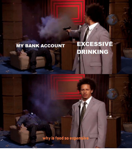Drinking, Food, and Bank: EXCESSIVE  DRINKING  MY BANK ACCOUNT  why is food so expensive