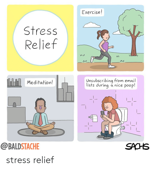 Stress Relief: Exercise!  Stress  Relief  MA M  Meditation!  nsbscribing from email  lists during a nice poop!  @BALDSTACHE  SACHS stress relief