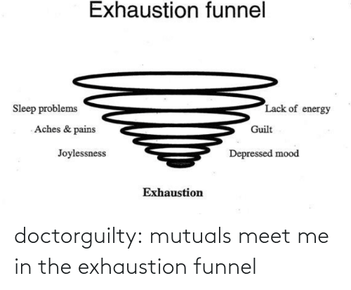 lack: Exhaustion funnel  Lack of energy  Sleep problems  Aches & pains  Guilt  Joylessness  Depressed mood  Exhaustion doctorguilty: mutuals meet me in the exhaustion funnel