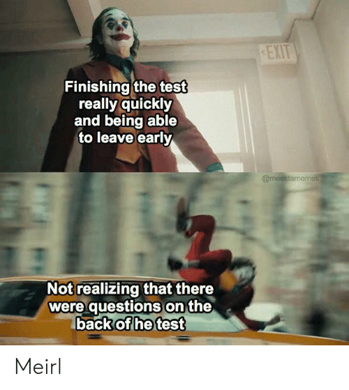 Test, MeIRL, and Back: EXIT  Finishing the test  really quickly  and being able  to leave early  @meestamemes  Not realizing that there  were questions on the  back of he test Meirl