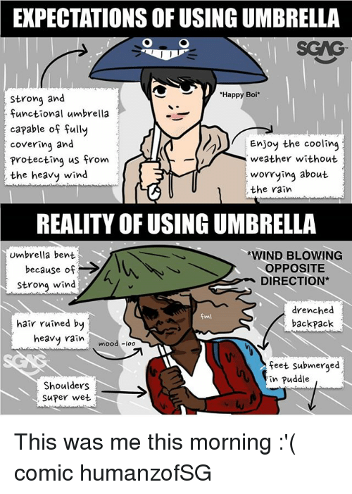Memes, Mood, and Hair: EXPECTATIONS OF USING UMBRELLA  SGAG  Happy Boi*  strong and  functional umbrella  capable of fully  covering and  protecting us from  the heavy wind  Enjoy the cooling  weather without  oying about  , the rain  REALITY OF USING UMBRELLA  umbrella bent  because of ->  Strong wind  WIND BLOWING  OPPOSITE  DIRECTION*  drenched  backpack  hair ruined by  heavy rain mood -loo  feet submerged  in puddle  Shoulders  Super wet This was me this morning :'( comic humanzofSG