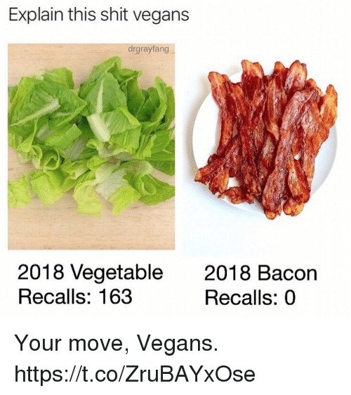 Funny, Shit, and Bacon: Explain this shit vegans  drgrayfang  2018 Vegetable  Recalls: 163  2018 Bacon  Recalls: 0 Your move, Vegans. https://t.co/ZruBAYxOse