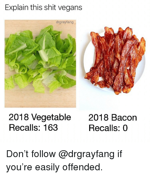 Memes, Shit, and Bacon: Explain this shit vegans  drgrayfang  2018 Vegetable2018 Bacon  Recalls: 163  Recalls: 0 Don't follow @drgrayfang if you're easily offended.