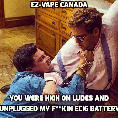 Vape, Canada, and Battery: EZ-VAPE CANADA  YOU WERE HIGH ON LUDES AND  UNPLUGGED  MY F*KIN ECIG BATTERY