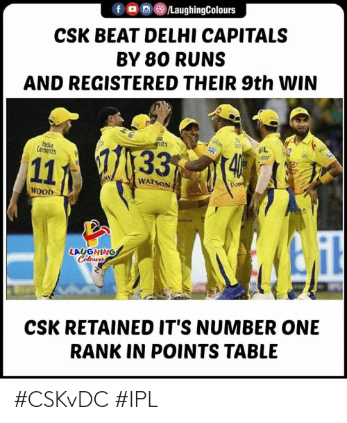rank: f。回@)/LaughingColours  CSK BEAT DELHI CAPITALS  BY 80 RUNS  AND REGISTERED THEIR 9th WIN  ula  ts  India  Cements  WATSON  Di  WOOD  LAUGHING  CSK RETAINED IT'S NUMBER ONE  RANK IN POINTS TABLE #CSKvDC #IPL