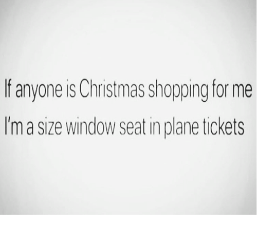 Christmas, Shopping, and Plane Tickets: f anyone is Christmas shopping for me  Im a size window seat in plane tickets