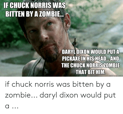 Daryl Dixon Memes: F CHUCK NORRIS WAS  BITTEN BY A ZOMBIE.  DARYL DIKON WOULD PUT A  PICKAXE IN HIS HEAD...AND  THE CHUCK NORRİSZOMBIE  THAT BITHIM if chuck norris was bitten by a zombie... daryl dixon would put a ...