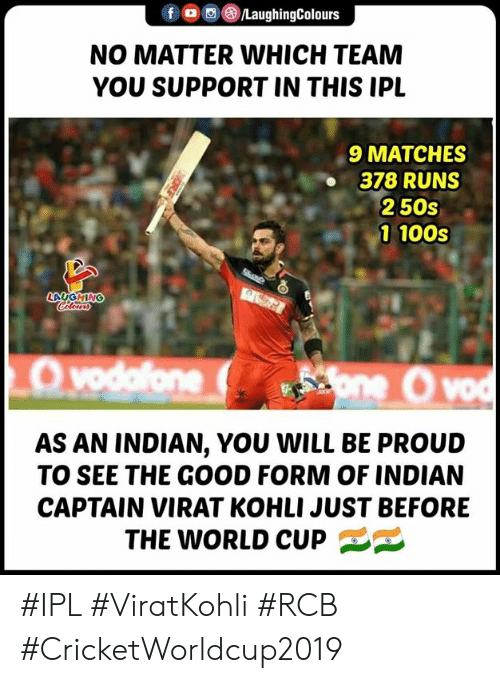 Viratkohli: f/LaughingColours  NO MATTER WHICH TEAM  YOU SUPPORT IN THIS IPL  9 MATCHES  378 RUNS  250s  1 100s  LAUGHING  AS AN INDIAN, YOU WILL BE PROUD  TO SEE THE GOOD FORM OF INDIAN  CAPTAIN VIRAT KOHLI JUST BEFORE  THE WORLD CUP #IPL #ViratKohli #RCB #CricketWorldcup2019