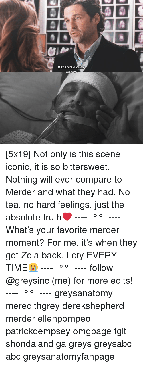 Abc, Memes, and Zola: f there's a crisis  GREYSING [5x19] Not only is this scene iconic, it is so bittersweet. Nothing will ever compare to Merder and what they had. No tea, no hard feelings, just the absolute truth❤️ ---- ≪ °✾° ≫ ---- What's your favorite merder moment? For me, it's when they got Zola back. I cry EVERY TIME😭 ---- ≪ °✾° ≫ ---- follow @greysinc (me) for more edits! ---- ≪ °✾° ≫ ---- greysanatomy meredithgrey derekshepherd merder ellenpompeo patrickdempsey omgpage tgit shondaland ga greys greysabc abc greysanatomyfanpage