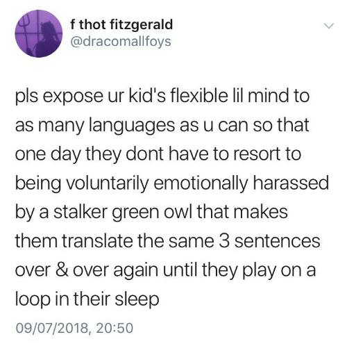 Thot, Kids, and Stalker: f thot fitzgerald  @dracomallfoys  pls expose ur kid's flexible lil mind to  as many languages as u can so that  one day they dont have to resort to  being voluntarily emotionally harassed  by a stalker green owl that makes  them translate the same 3 sentences  over & over again until they play on a  loop in their sleep  09/07/2018, 20:50